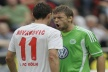 Milivoje Novakovic became the first player sent off in the Bundesliga for the season
