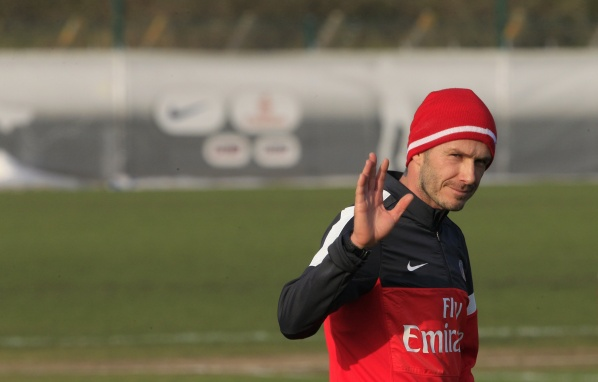 David Beckham with first training for PSG