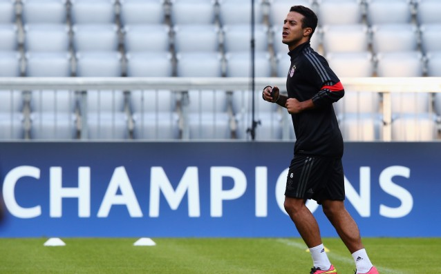 Thiago Alcantara began training with a ball