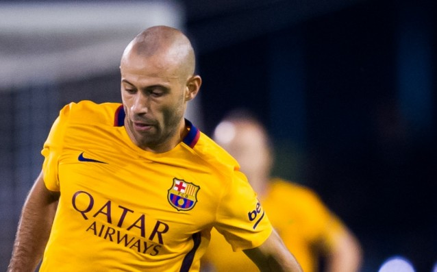 Javier Mascherano is back in the game for Barcelona