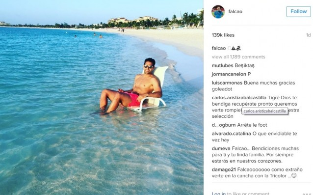 Falcao is resting on a mysterious island