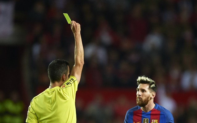 Barca appealed Messi's yellow card