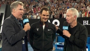 A famous comedic actor and Federer swap jokes on the court
