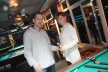 Predrag Pazhin and Miss Playmate try new billiard cue